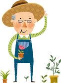 Farmer plants a flowers — Wektor stockowy
