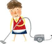 Woman vacuuming — Stock Vector