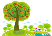 Apples tree on city background — Stock Vector