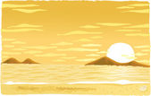 Sunset over islands — Stock Vector