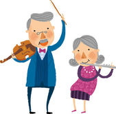Old couple playing the violin and flute — Vetorial Stock