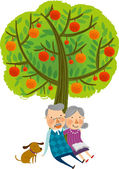 The view of old couple under the tree — Stock Vector