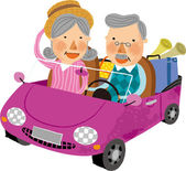 Elderly couple travelling on car — Stock Vector
