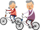 Elderly couple rides on bicycles — Stock Vector