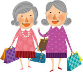 Old women with shopping bags — Stock Vector