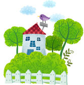 Bird on house — Stock Vector