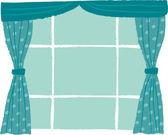 Ventanas con cortinas — Vector de stock