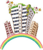Buildings on rainbow — Stock Vector