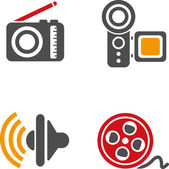 Set of video and audio icons — Stock Vector