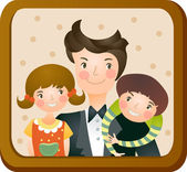Family photo in frame — Stock Vector