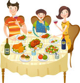 Family dines — Stock Vector