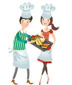 Couple with food — Stock Vector