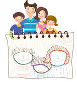 Family with children's drawings — Vector de stock