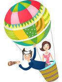 People fly on balloon — Stock Vector