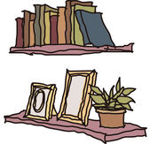 Books and picture frames on the shelves — Stock Vector