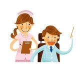 Läkare med sjuksköterska — Stockvektor