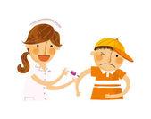 Nurse syringe punctures boy — Vector de stock