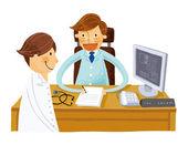 Paciente no médico — Vetor de Stock
