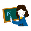 Girl writing on blackboard — Stock Vector