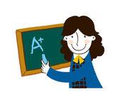 黑板上写的女孩 — 图库矢量图片