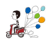 Guy rides a moped — Stock Vector