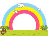 Rainbow over landscape — Stock Vector