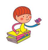 Boy hold a bird sitting on books — Stock Vector