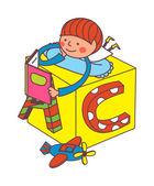 Boy reading a book on the box — Stock Vector
