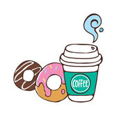 Coffee and donuts — Stock Vector
