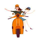 Holky jezdí na mopedu — Stock vektor