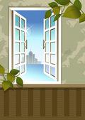 Open window in the room — Stockvector