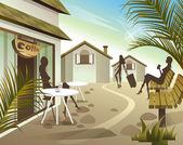 Touristic village — Stock Vector