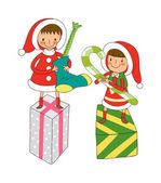 Children with Christmas gifts — Stock Vector