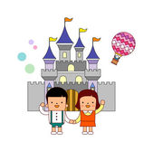 Couple on a castle background — Stock Vector