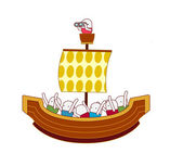 People in boat — Stock Vector