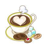 Taza de café con galletas — Vector de stock