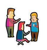 Trois personnes parlant — Vecteur