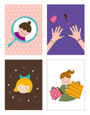Collage of girls life photos — Stockvector
