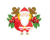 Santa Claus with gift — Stock Vector