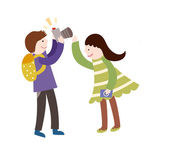 Boy photographing girl — Stock Vector