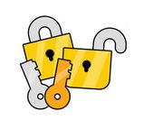 Schlüssel und schlösser — Stockvektor