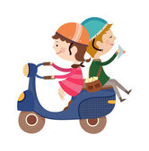 Couple on a moped — Stock Vector