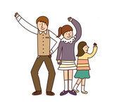Famille danse — Vecteur