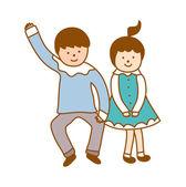 Pareja de baile — Vector de stock