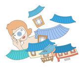 Girl photographs traditional Asian houses — Stock Vector