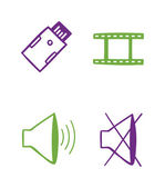 Set of audio video icons — Stock Vector