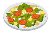 Salad on plate — Stock Vector