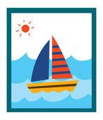 Bild på båten — Stockvektor