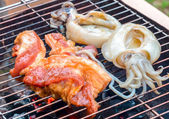 Piece of raw pork steak and squid on bbq charcoal grill — Stock Photo