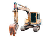 Rusty old yellow bulldozer isolated on white background — Stock Photo